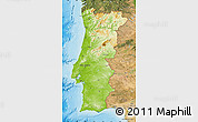 Physical Map of Portugal, satellite outside, shaded relief sea
