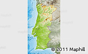 Physical Map of Portugal, semi-desaturated, land only