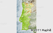 Physical Map of Portugal, semi-desaturated