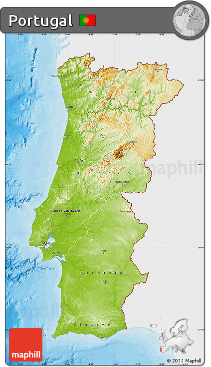 Free Physical Map Of Portugal Single Color Outside Bathymetry - Portugal map sea