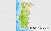 Physical Map of Portugal, single color outside