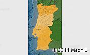 Political Shades Map of Portugal, darken