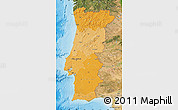 Political Shades Map of Portugal, satellite outside, bathymetry sea