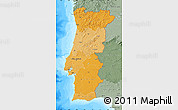 Political Shades Map of Portugal, semi-desaturated, land only