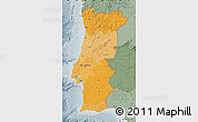 Political Shades Map of Portugal, semi-desaturated