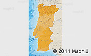 Political Shades Map of Portugal, shaded relief outside, bathymetry sea