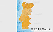 Political Shades Map of Portugal, single color outside