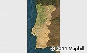 Satellite Map of Portugal, darken