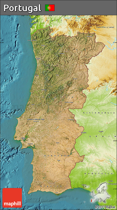Free Satellite Map Of Portugal Physical Outside Satellite Sea - Portugal map sea