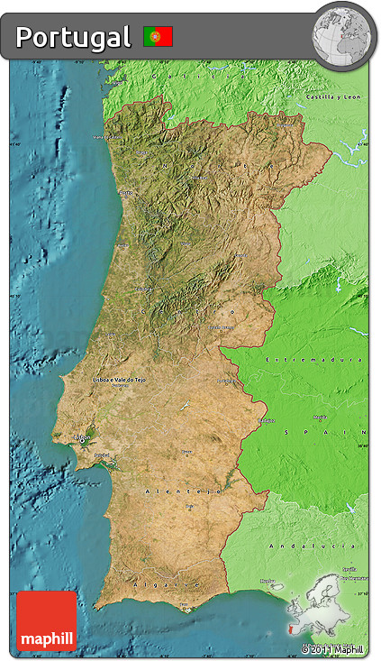 Free Satellite Map Of Portugal Political Shades Outside - Portugal map sea
