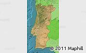 Satellite Map of Portugal, political shades outside, satellite sea