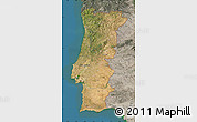 Satellite Map of Portugal, semi-desaturated, land only