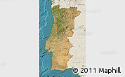 Satellite Map of Portugal, shaded relief outside, satellite sea