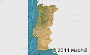 Satellite Map of Portugal, single color outside