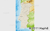 Shaded Relief Map of Portugal, physical outside