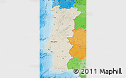Shaded Relief Map of Portugal, political outside, shaded relief sea