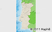 Shaded Relief Map of Portugal, political shades outside, shaded relief sea