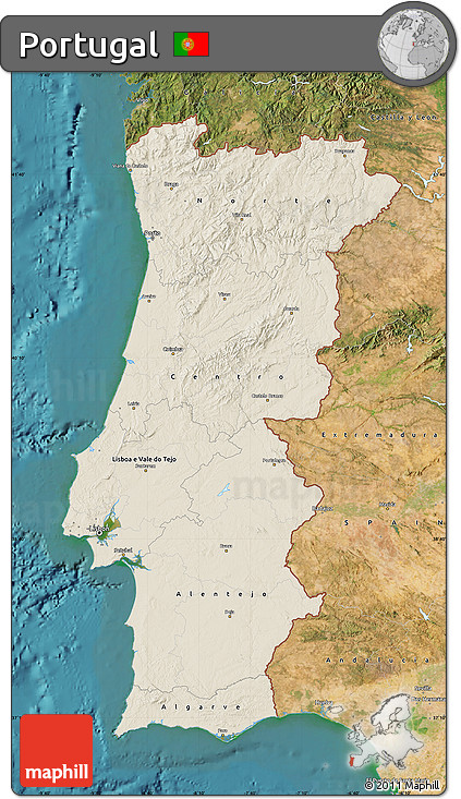 Free Shaded Relief Map Of Portugal Satellite Outside - Portugal map satellite