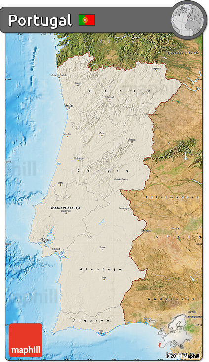Free Shaded Relief Map Of Portugal Satellite Outside Shaded - Portugal map satellite