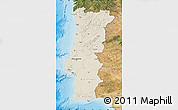 Shaded Relief Map of Portugal, satellite outside, shaded relief sea