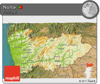 Free Physical D Map Of Norte Satellite Outside - Portugal norte map