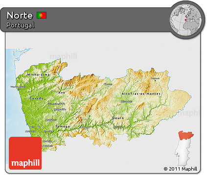 Free Physical D Map Of Norte Single Color Outside - Portugal norte map