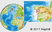 Physical Location Map of Vila Nova de Foz Coa, highlighted country, highlighted parent region