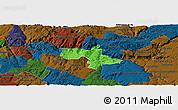 Political Panoramic Map of Vila Nova de Foz Coa, darken