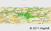 Political Panoramic Map of Vila Nova de Foz Coa, physical outside