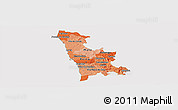 Political Shades Panoramic Map of Grande Porto, cropped outside