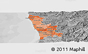 Political Shades Panoramic Map of Grande Porto, desaturated