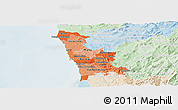Political Shades Panoramic Map of Grande Porto, lighten
