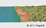 Political Shades Panoramic Map of Grande Porto, satellite outside