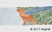 Political Shades Panoramic Map of Grande Porto, semi-desaturated