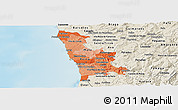 Political Shades Panoramic Map of Grande Porto, shaded relief outside