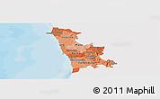 Political Shades Panoramic Map of Grande Porto, single color outside