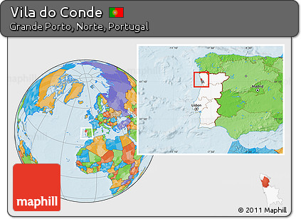 Free Political Location Map Of Vila Do Conde Highlighted Country