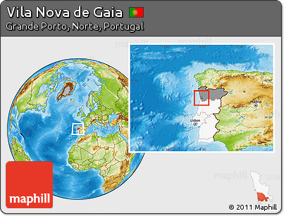 Free Physical Location Map of Vila Nova De Gaia highlighted country