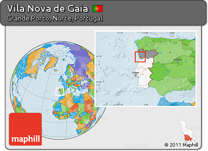 Free Political Location Map of Vila Nova De Gaia highlighted