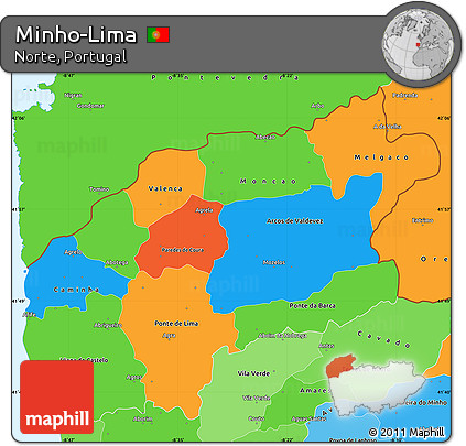 Free Political Simple Map Of MinhoLima Political Shades Outside - Portugal map minho