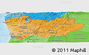 Political Shades Panoramic Map of Norte