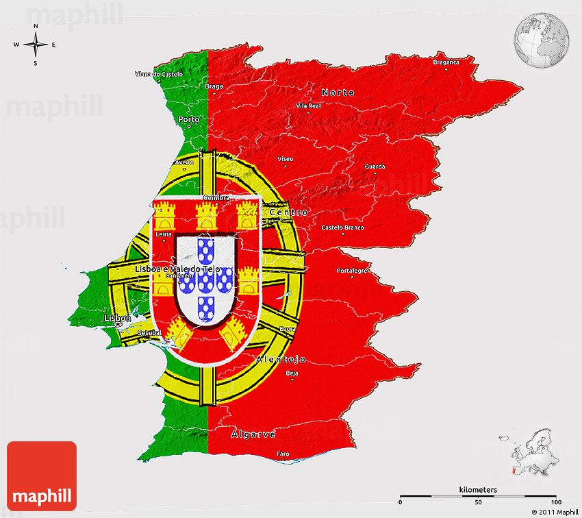 Flag Panoramic Map Of Portugal - Portugal map flag