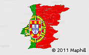 Flag Panoramic Map of Portugal