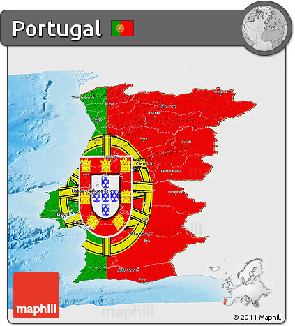 Free Flag Panoramic Map Of Portugal Single Color Outside Shaded - Portugal map sea
