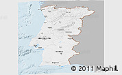 Gray Panoramic Map of Portugal, single color outside