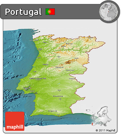 Free Physical Panoramic Map Of Portugal Single Color Outside - Portugal map sea