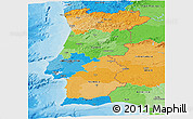 Political Panoramic Map of Portugal