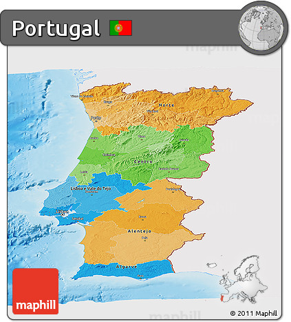 Free Political Panoramic Map Of Portugal Single Color Outside - Portugal map sea