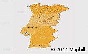 Political Shades Panoramic Map of Portugal, cropped outside