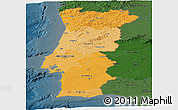 Political Shades Panoramic Map of Portugal, darken